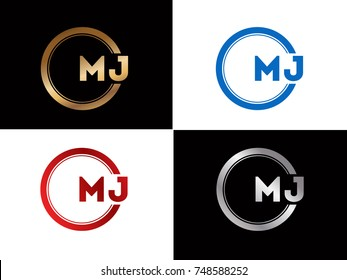 MJ Logo. Letter Design Vector with Red and Silver Colors