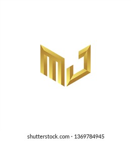 MJ Logo letter initial 3d designs templete with gold colors