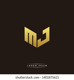 MJ Logo Letter Initial Logo Designs Templete with Gold and Black Background