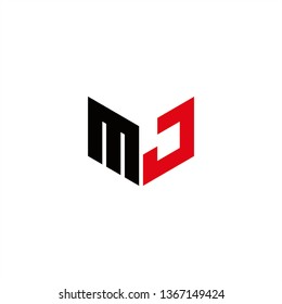 MJ Logo Letter Initial With Red and Black Colors