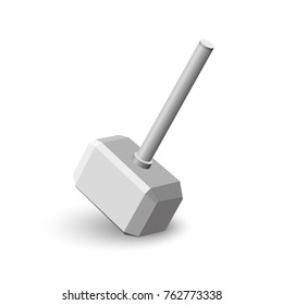 Mjollnir. Realistic Thor's hammer on white background. The Scandinavian mythology. Thrown weapons. Vector illustration.