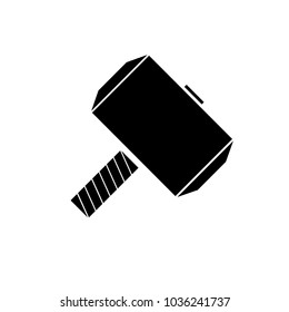 Mjolnir, aka Thor's hammer vector icon on white background
