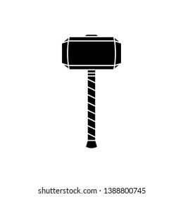 Mjolnir, Thor Hammer Icon Vector Illustration Logo Template