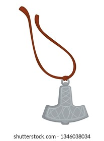 Mjolnir Thor hammer viking amulet silver pendant on rope vector Scandinavian God weapon history relic accessory or jewelry North warrior item ancient charm and faith magic device myth or legend