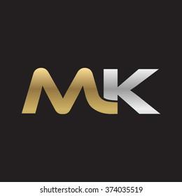 MK company linked letter logo golden silver black background