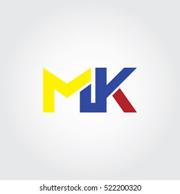 MK flat initial letter logo combining yellow, blue and red