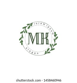 MK Initial beauty floral logo template