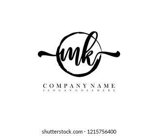 MK initial handwriting logo circle template vector