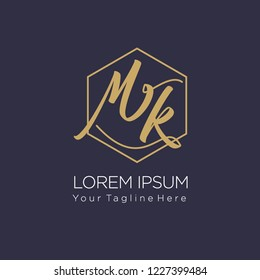 MK Initial handwriting logo on hexagon line, vector illustration