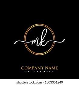 MK Initial Handwriting logo template vector