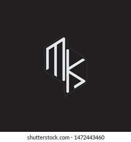 MK Initial Letters logo monogram with up to down style isolated on black background