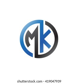 MK initial letters looping linked circle logo blue black