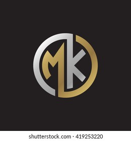 MK initial letters looping linked circle elegant logo golden silver black background