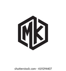 MK initial letters looping linked hexagon monogram logo