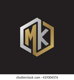 MK initial letters looping linked hexagon elegant logo golden silver black background