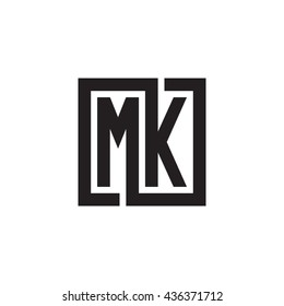 MK initial letters looping linked square monogram logo
