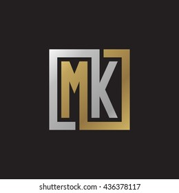 MK initial letters looping linked square elegant logo golden silver black background