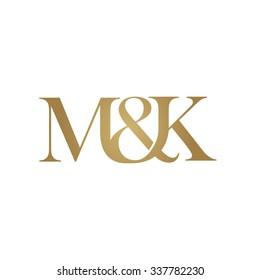 M&K Initial logo. Ampersand monogram golden logo