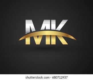 MK initial logo company name colored gold and silver swoosh design. vector logo for business and company identity.
