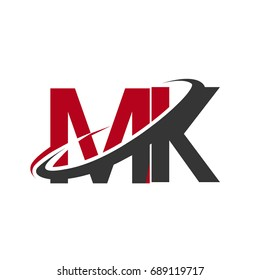 MK initial logo company name colored red and black swoosh design, isolated on white background. vector logo for business and company identity.