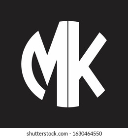 MK Initial Logo design Monogram Isolated on black and white