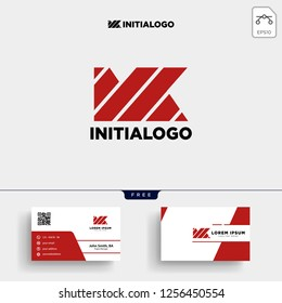 MK INITIAL LOGO TEMPLATE VECTOR ILLUSTRATION AND YOU GET BUSINESS CARD