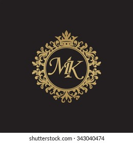 MK initial luxury ornament monogram logo