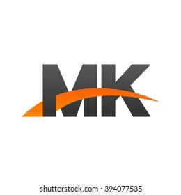 MK initial overlapping swoosh letter logo black orange