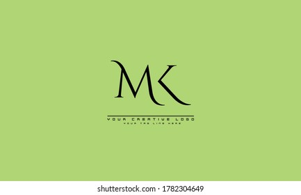 MK KM abstract vector logo monogram template