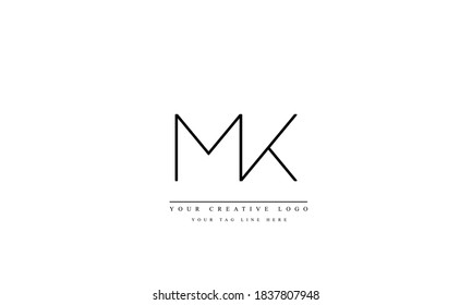 MK KM abstract vector logo monogram template
