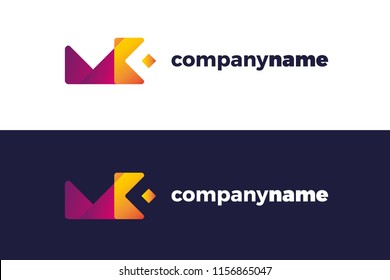 MK and KM monogram logo, logotype. Vector illustration logo design.