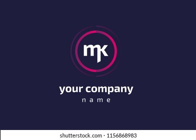 MK and KM monogram logo, logotype. Vector illustration design