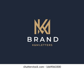 MK or KM. Monogram of Two letters K&W or M&K. Luxury, simple, minimal and elegant MK, KM logo design. Vector illustration template.