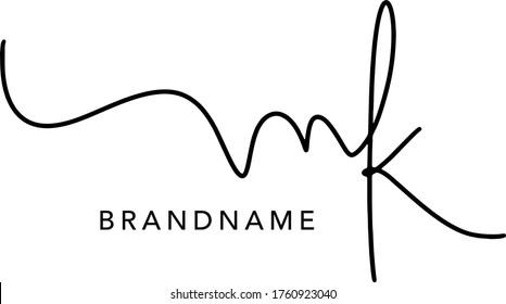 MK  Letter Initial Logo Design, Vector Template