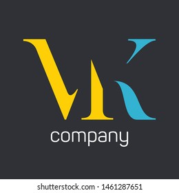 MK logo template. Company logo. Monogram. Letters M and K.