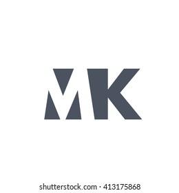 MK Logo. Vector Graphic Branding Letter Element. White Background