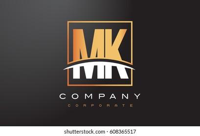 MK M K Golden Letter Logo Design with Swoosh and Rectangle Square Box Vector Design.