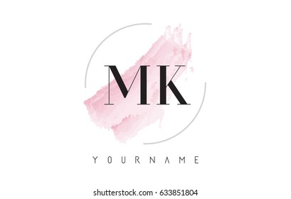 MK M K Watercolor Letter Logo Design with Circular Shape and Pastel Pink Brush.