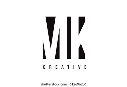 MK M K White Letter Logo Design with Black Square Vector Illustration Template.