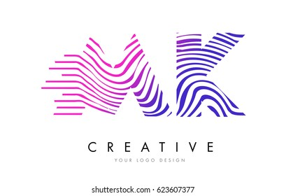 MK M K Zebra Letter Logo Design with Black and White Stripes Vector