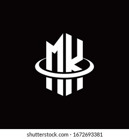 MK monogram logo in a hexagon style and surrounded by a ring