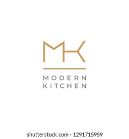 MK. Monogram of Two letters M & K. Luxury, simple, minimal and elegant MK logo design. Vector illustration template.
