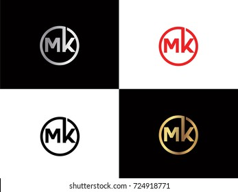 MK text gold black silver modern creative alphabet letter logo design vector icon