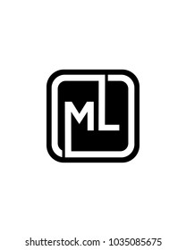 ML initial box letter logo template vector