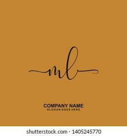 ML Initial handwriting logo vector