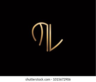 ML initial heart shape gold colored logo