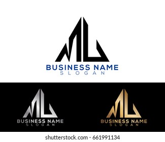 ML initial letters linked triangle shape logo
