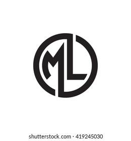 ML initial letters looping linked circle monogram logo