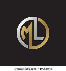 ML initial letters looping linked circle elegant logo golden silver black background