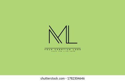 ML LM abstract vector logo monogram template